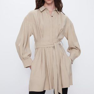 Zara BELTED SHIRT DRESS TRF-CAMEL-2184/306-long sl